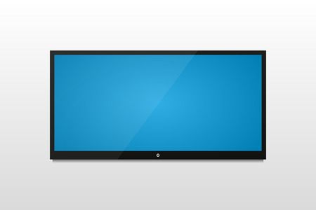 plasma tv: Plasma  TV on a white wall with shadow and blue screen Illustration