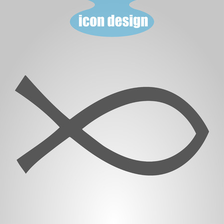 ictus: Icon  fish on a gray background. Vector illustration. Christianity Sign Illustration