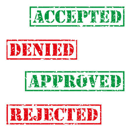 accepted: Four  stamp with grunge. Accepted, denied, aproved, rejected