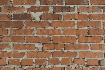 Wall of orange brick. Vector illustration