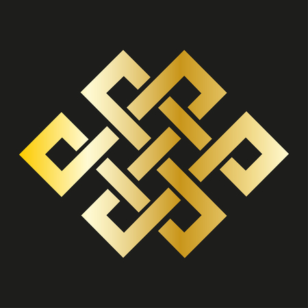 rope folk: Icon  endless knot in gold. Buddhist symbol