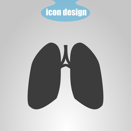 pulmones: Icon  of lungs on a gray background. Vector illustration Illustration