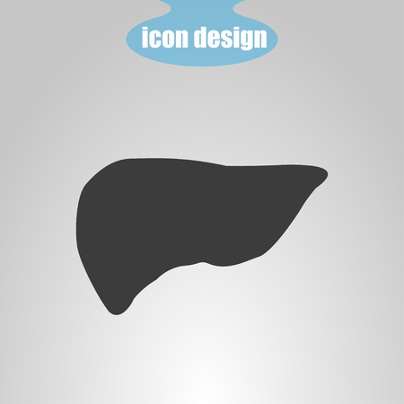 hepatology: Icon  of liver on a gray background. Vector illustration