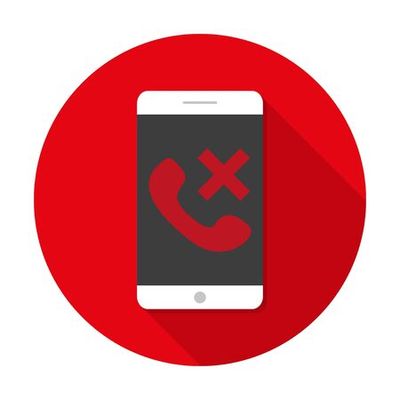 caller: White  Smartphone with long shadow to the icon of the rejected call