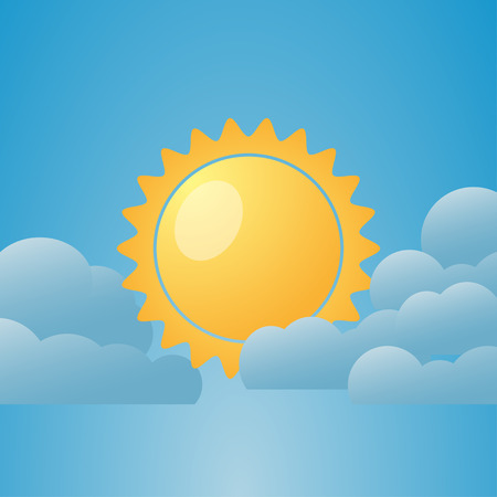 clouded sky: Illustration  of weather conditions. Partly Cloudy. Vector illustration Illustration