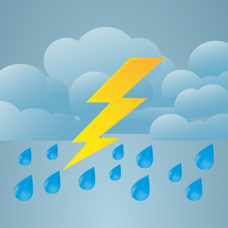 Illustration of weather conditions. Heavy rain and thunderstorms
