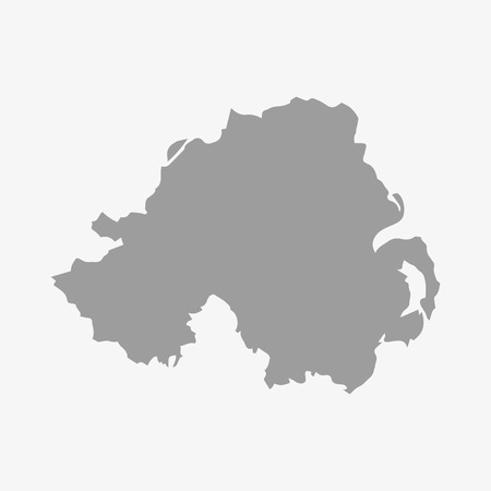 ireland map: Northern  Ireland map in gray on a white background Illustration