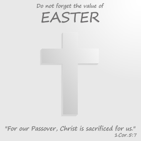 easter cross: White  cross with the text of the Bible. Easter Illustration