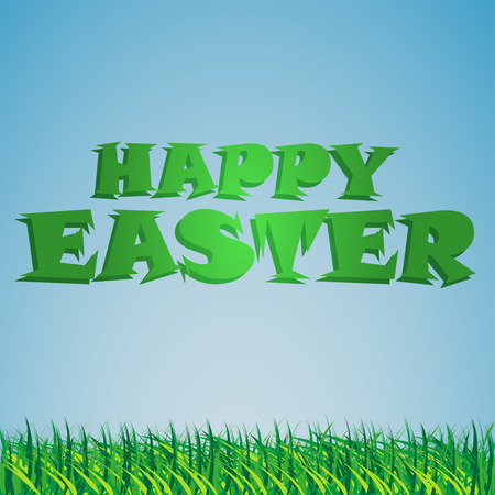 congratulatory: Background  with the sky and the grass and the congratulatory text Easter Illustration