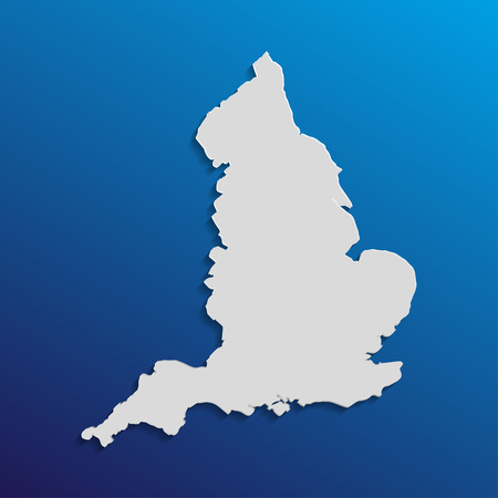 england map: England  map in gray with shadows and gradients on a blue background