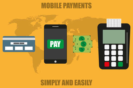 near: Mobile  payments and near field communication. Vector illustration