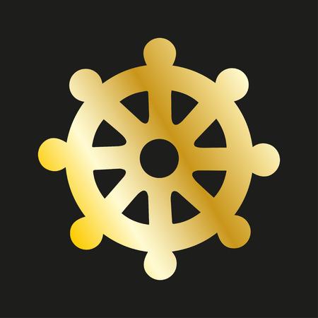 wheel of dharma: Icon wheel of of Dharma in gold. Buddhist symbol
