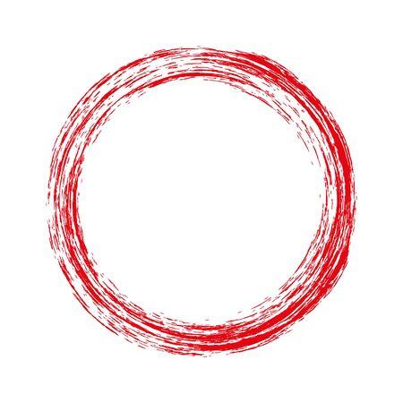 Rotonda cornice rossa con grunge. illustrazione di vettore