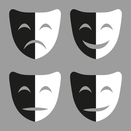 moods: Set  of black and white masks with emotions