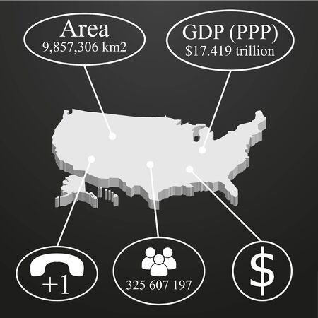 economic: USA  Map in 3D. Elements of infographics on economic data Illustration