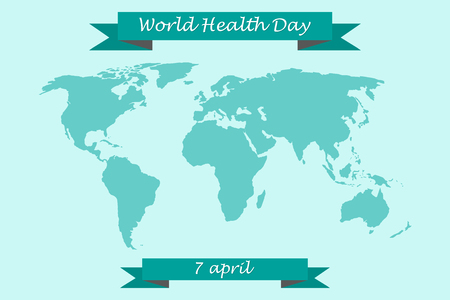 lifting globe: World  Health Day on 7 April. World map with congratulatory ribbons