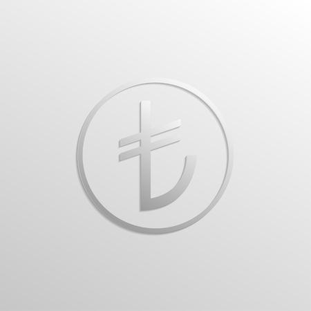 turkish lira: Icon  Turkish lira with shadows and gradients