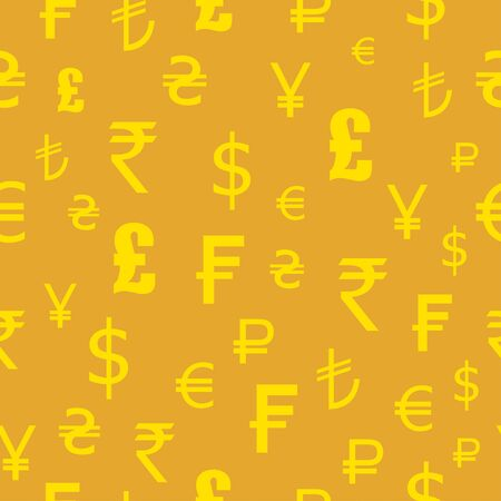 japanese yen: Icons  set of currencies of the world. Seamless pattern. Dollar, euro, pounds, francs, rupees, yen Illustration