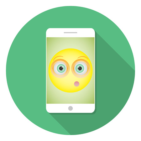embarrassed: White  Smartphone with long shadow with a picture of a smiley with a embarrassed emotion