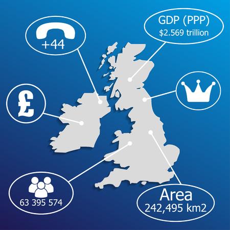 uk map: UK Map.  Elements of infographics on economic data