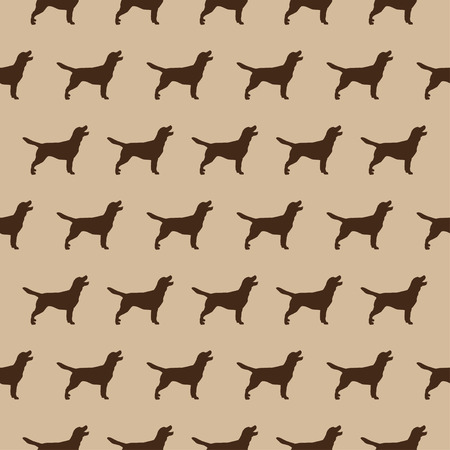 biege: Seamless  pattern with dogs silhouette on beige background Illustration