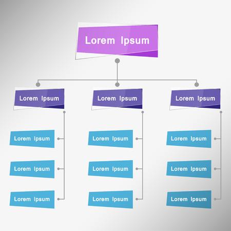 Tarjeta del color Organigrama Infografía, color múltiple, Estructura de la Empresa Concept, negocios Diagrama de flujo de proceso de trabajo, ilustración vectorial.