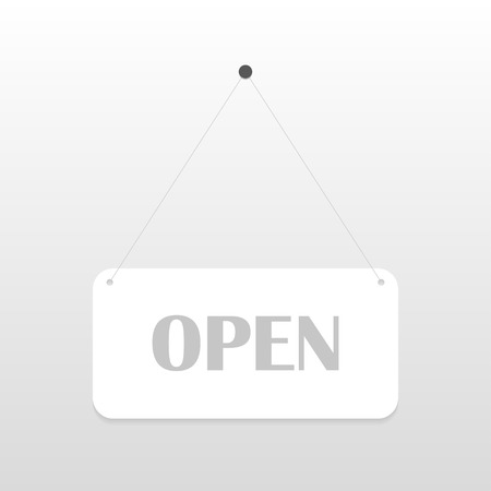 window hole: Open  sign board hanging on the white wall. Vector illustration