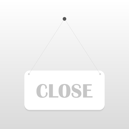 apologize: Closed  sign board hanging on the white wall. Vector illustration Illustration
