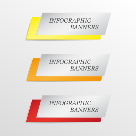 environmental analysis: Three  infographics banner. Yellow, orange, red. Vector illustration