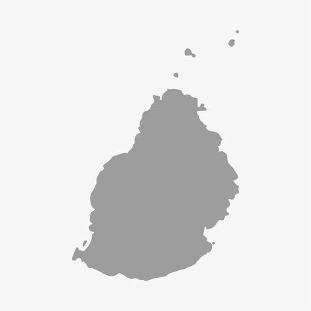 Mappa di Mauritius in grigio su uno sfondo bianco Vettoriali