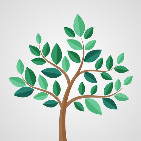 Baum mit Blättern auf einem grauen Hintergrund. Vektor-Illustration Vektorgrafik