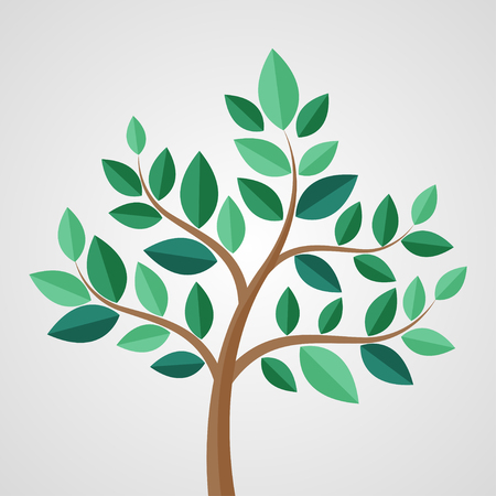 Tree with leaves on a gray background. Vector illustration Vector Illustration