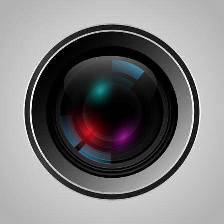 telephoto: Realistic  camera lens with glare. Vector illustration Illustration