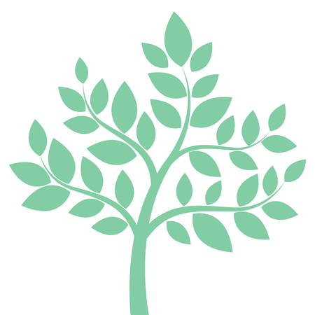 reforestation: Decorative  simple tree in green. Vector illustration