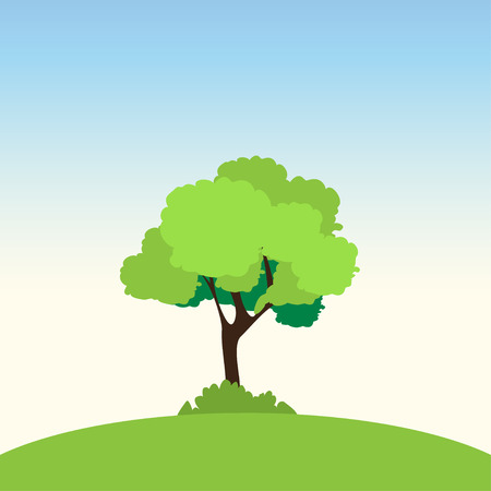 slope: Lonely  tree on a green slope. Vector illustration Illustration