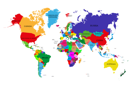 Colored  political world map with names of sovereign countries and larger dependent territories. Different colors for each countries Vettoriali