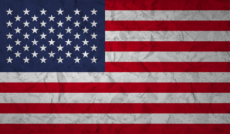 us grunge flag: US  flag with the effect of crumpled paper and grunge