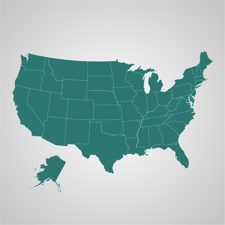 separable: Map  of USA with separable borders in vector art Illustration