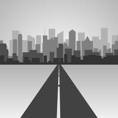 traffic pylon: Vector  illustration .Highway silhouette in a town. City skyline Illustration