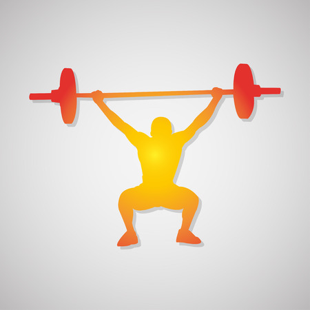 builder: Icon  weightlifter. Man with barbell in orange. Vector illustration