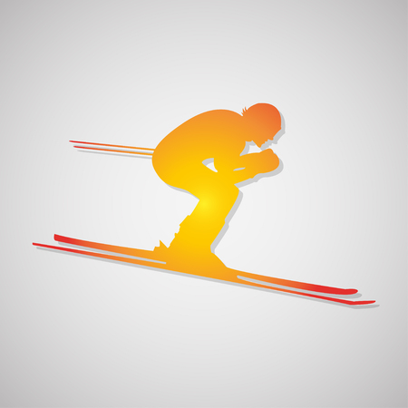 sliding colors: skier  icon with shadow in orange. Vector illustration