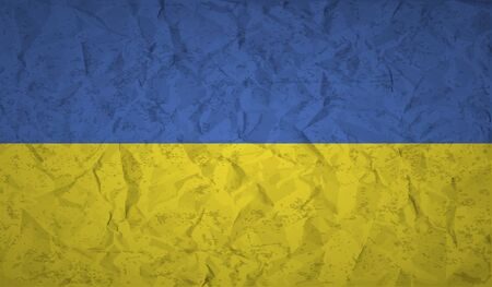 painterly effect: Ukraine  flag with the effect of crumpled paper and grunge