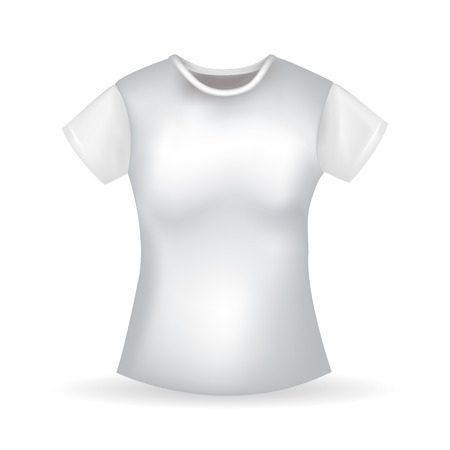 unifrom: Womens  raelistic white T-shirt with shadow. Vector illustration
