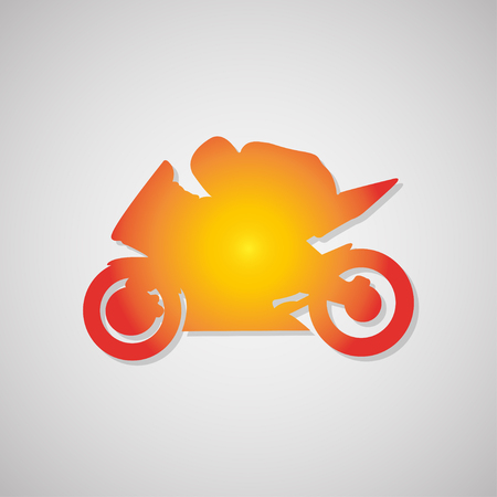 motorcyclist: motorcyclist  Icon with shadow in orange. Vector illustration Illustration
