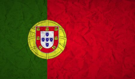 portugal flag: Portugal  flag with the effect of crumpled paper and grunge