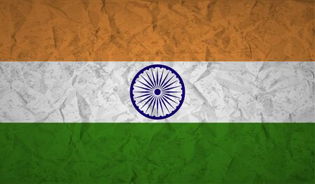 proportional: Flag  of India with effect crumpled paper and grunge