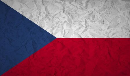 foreigner: Flag  of the Czech Republic with the effect of crumpled paper and grunge Illustration