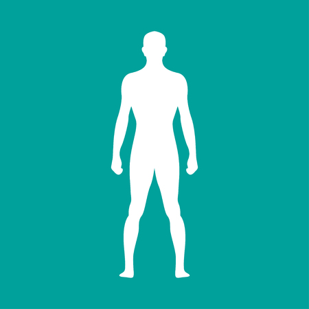 Human body outline in white. Vector illustration