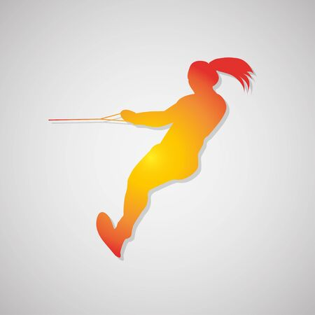 Icon  girl waterskiing with shadow in orange. Vector illustration