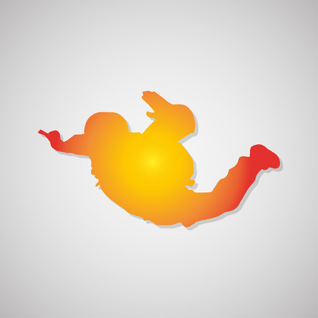 parachuter: Parachutist  Icon with shadow in orange. Vector illustration